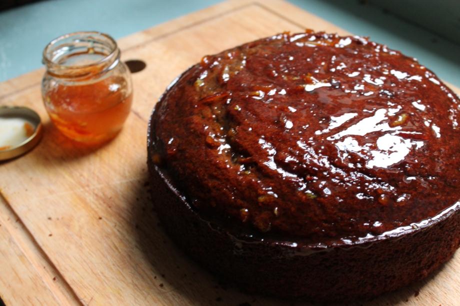 Date and Orange Cake with a MarmaladeGlaze