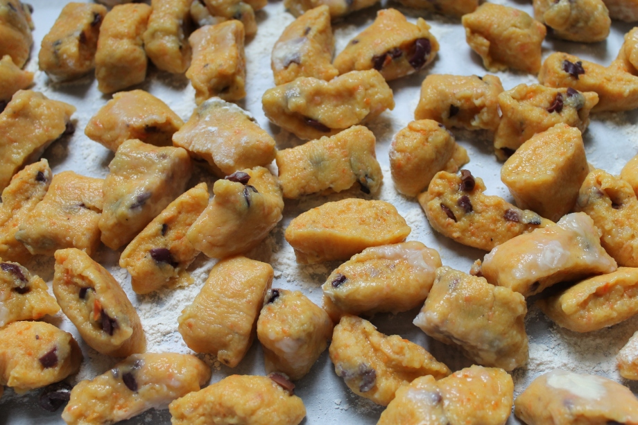 Pan-fried Carrot and Black OliveGnocchi