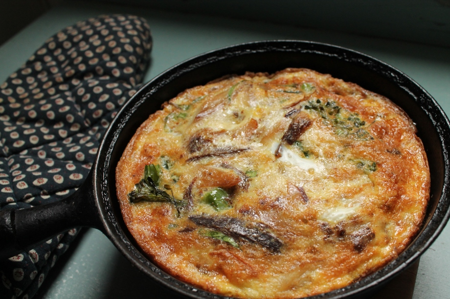 Broccoli and Smoked Mackerel Frittata